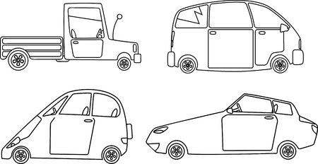 Vector monoline illustration of different types of cars
