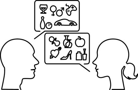 interests: Male and female monoline profiles with speech bubbles filled with symbols of typical mens and womens interests, vector illustration Illustration