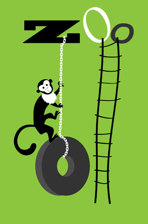 primate biology: Capuchin monkey climbing a tire swing, hanging down from the word Zoo, rope ladder on its right vector illustration