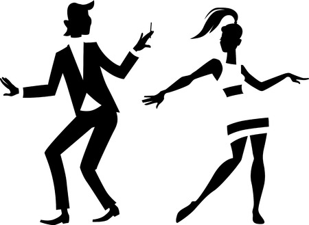 women smoking: Black vector silhouette of a mod couple dancing