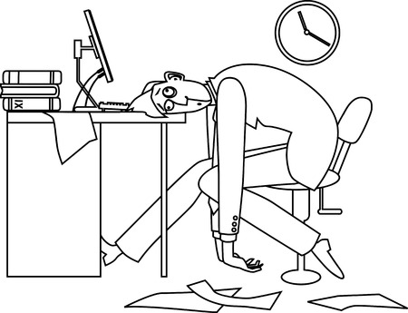 Mono-line vector illustration of an exhausted man, sitting at his desk in the office late at night Иллюстрация