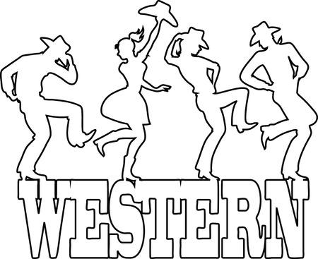 cowgirl and cowboy: Monoline vector silhouette of people dancing on a banner