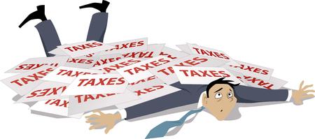 impuestos: El hombre, derribado y enterrado bajo una pila de ilustración vectorial impuestos
