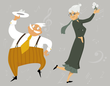 Funny cartoon senior couple dancing