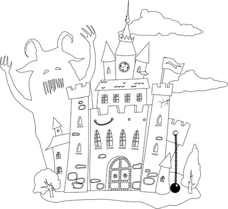 Coloring book page, outline of a fairy-tale castle and a monster
