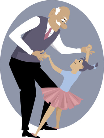 family fun: Grandfather dancing with a little girl