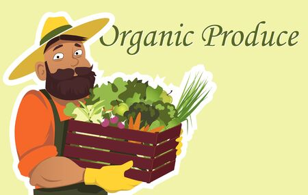 Bearded farmer or gardener in a hat holding a wooden box filled with fresh vegetables and fruits, copy space on the right,no transparencies Vettoriali