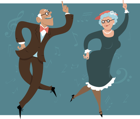 grandpa and grandma: Senior couple dancing swing or Big Apple Illustration