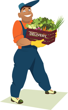 Delivery person in overalls carrying a crate with fresh produce Illustration