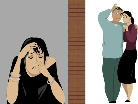 Concerned parents separated by a brick wall from their depressed daughter illustration, no transparencies Illustration
