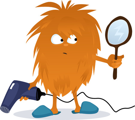 combing: Funny shaggy cartoon creature holding a hair dryer and looking in a mirror, no transparencies