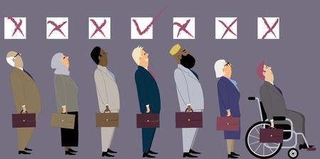 discriminacion: Línea de diversos candidatos para un trabajo con unas casillas de verificación sobre sus cabezas como una metáfora de la discriminación durante una entrevista de trabajo.