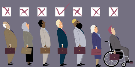 Line of diverse candidates for a job with a check boxes above their heads as a metaphor for a discrimination during an employment interview.