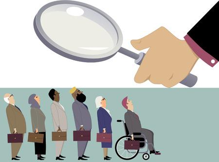 Línea de diversos candidatos, entre ellos ancianos, inmigrantes y discapacitados, que se colocan bajo una lupa de un director de recursos humanos Ilustración de vector