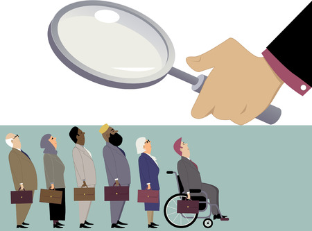 Line of diverse candidates, including elderly, immigrants and handicapped, standing under a magnifying glass of a hiring manager