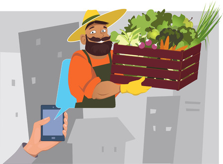 small business computer: Farmer with a crate of fresh vegetables coming out of a mobile app, illustration