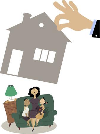 pobreza: Madre con dos niños que se sientan en un sofá mientras una mano gigante quitándoles su casa, Ilustración
