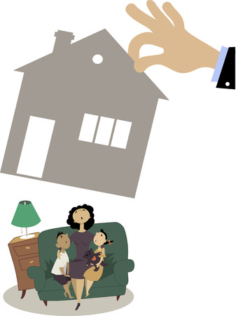 repossessing: Mother with two children sitting on a couch while a giant hand taking away their house, illustration