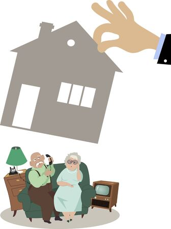 repossessing: Senior couple losing their house to foreclosure, illustration, no transparencies