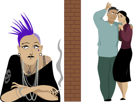Concerned parents separated by a brick wall from their punk daughter as a metaphor for a generation gap, illustration Illustration