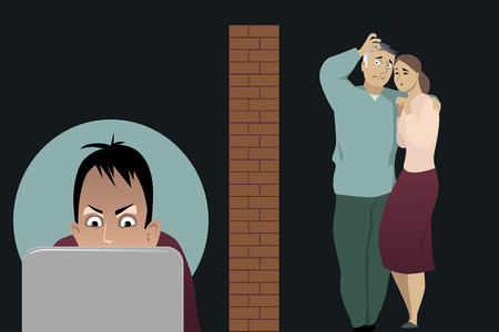 addicted: Concerned parents separated by a brick wall from their teenage son, addicted to internet, illustration