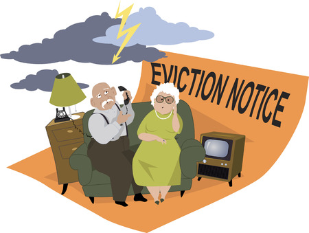 homelessness: Elderly couple sitting on a couch, under a stormy skies, on the eviction notice