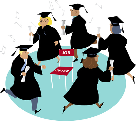 People with diplomas playing musical chairs with only one chair symbolizing scars jobs for new graduates