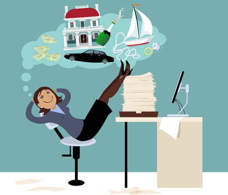 Woman sitting in an office putting her feet on a pile of papers and daydreaming about expensive things and money Illustration