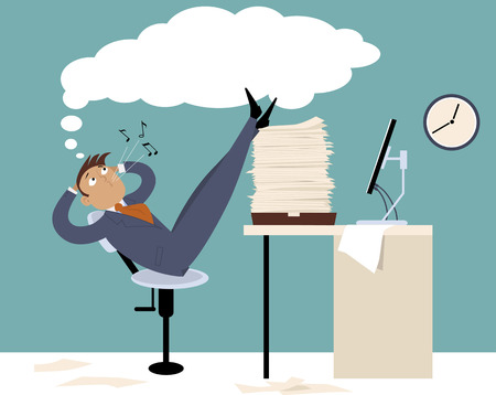 Procrastinating man sitting in the office with his legs up on a pile of papers, whistling and daydreaming