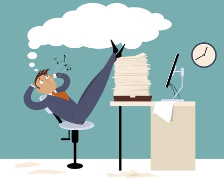 perezoso: Procrastinating hombre sentado en la oficina con las piernas para arriba en una pila de papeles, silbidos y soñando despierto