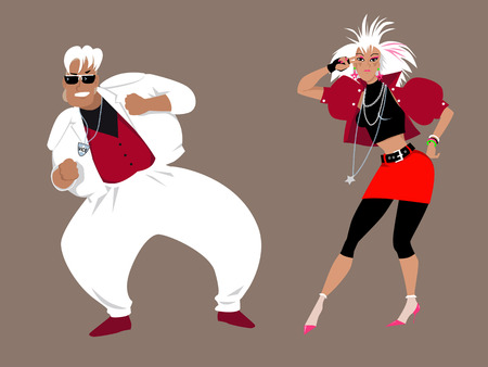 oversized: Young couple dressed in 1980s fashion dancing Illustration