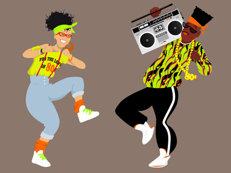 bight: Young couple dressed in 1980s fashion listening music from a boombox and dancing