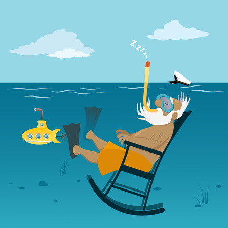 Gepensioneerde oude zeekapitein ontspannen in een schommelstoel onderwater, ademen door een snorkel