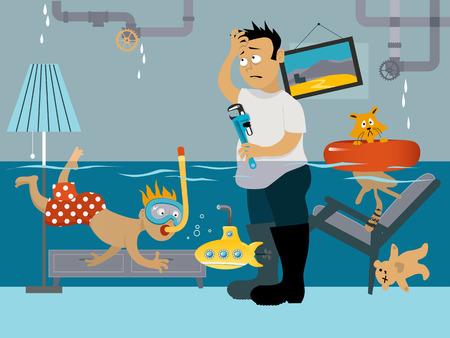 emergencia: snorkel niño en una habitación inundada, su padre mirando la tubería con fugas