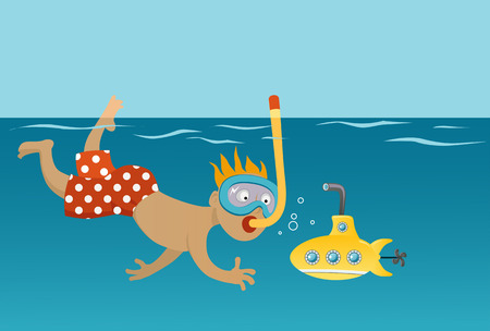 Little boy in a polka-dot swimsuit snorkeling and playing with a toy submarine Illustration