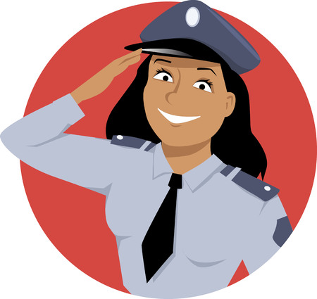 guard duty: Portrait of a policewoman saluting Illustration