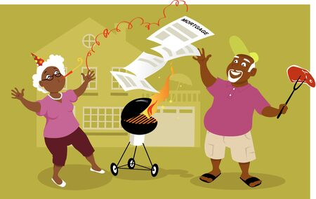 woman middle age: Middle age black couple having a mortgage burning party in front of their home
