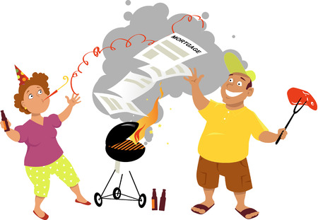 woman middle age: Middle age couple having a mortgage-burning party, isolated on white Illustration