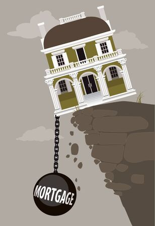 Luxurious mansion teetering on the edge of the cliff, pulled down by a weight of mortgage