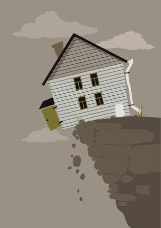 집은 무너져 절벽의 가장자리에 균형