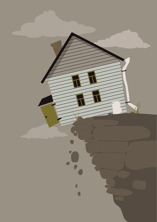 balancing: House balancing on the edge of a crumbling cliff