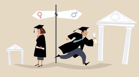 discriminacion: graduados femeninos y masculinos que enfrentan diferentes perspectivas de carrera