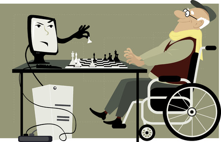 aging brain: Elderly man in a wheelchair playing chess with a computer