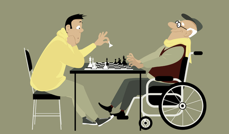 brain aging: Elderly man in a wheelchair playing chess with a young guy and winning