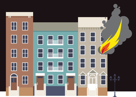 house on fire: Flame coming out of a window of an apartment building in the city