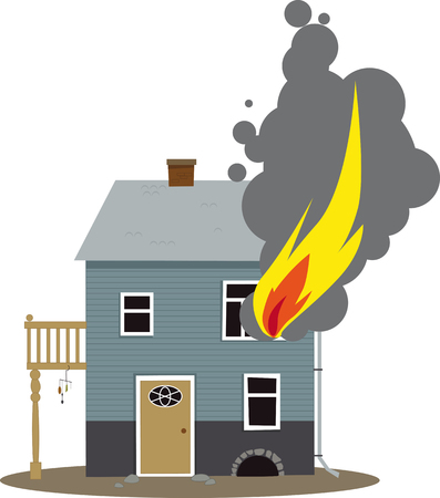 building fire: Family home on fire, flames coming out of a window Illustration