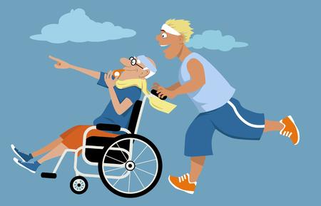 Jonge man lopen en duwen een oude man in een rolstoel in de voorkant van zichzelf