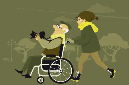 Jonge vrouw en een oude man in een rolstoel wandelen in een park met een fotocamera