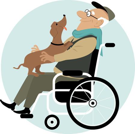 Een oudere man in een rolstoel met een vriendelijke hond op zijn schoot