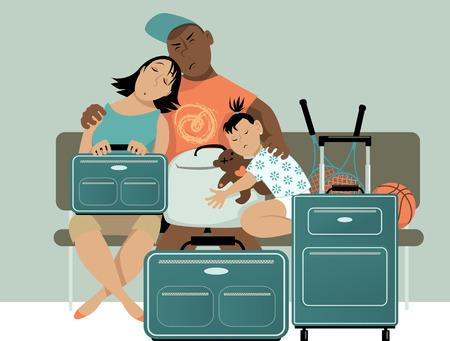 Familie wachten op een bankje met hun bagage, in slaap vallen